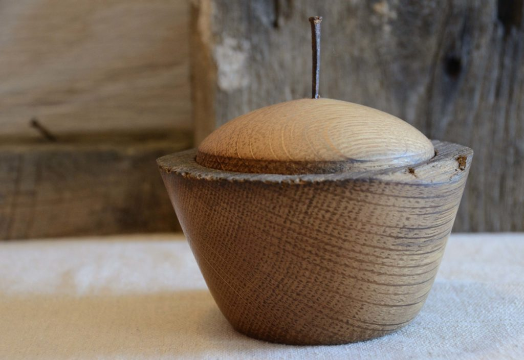 Third in a series of handcrafted lidded vessels made from the salvaged aok beam of a 100-year-old barn near Fredierick, MD.