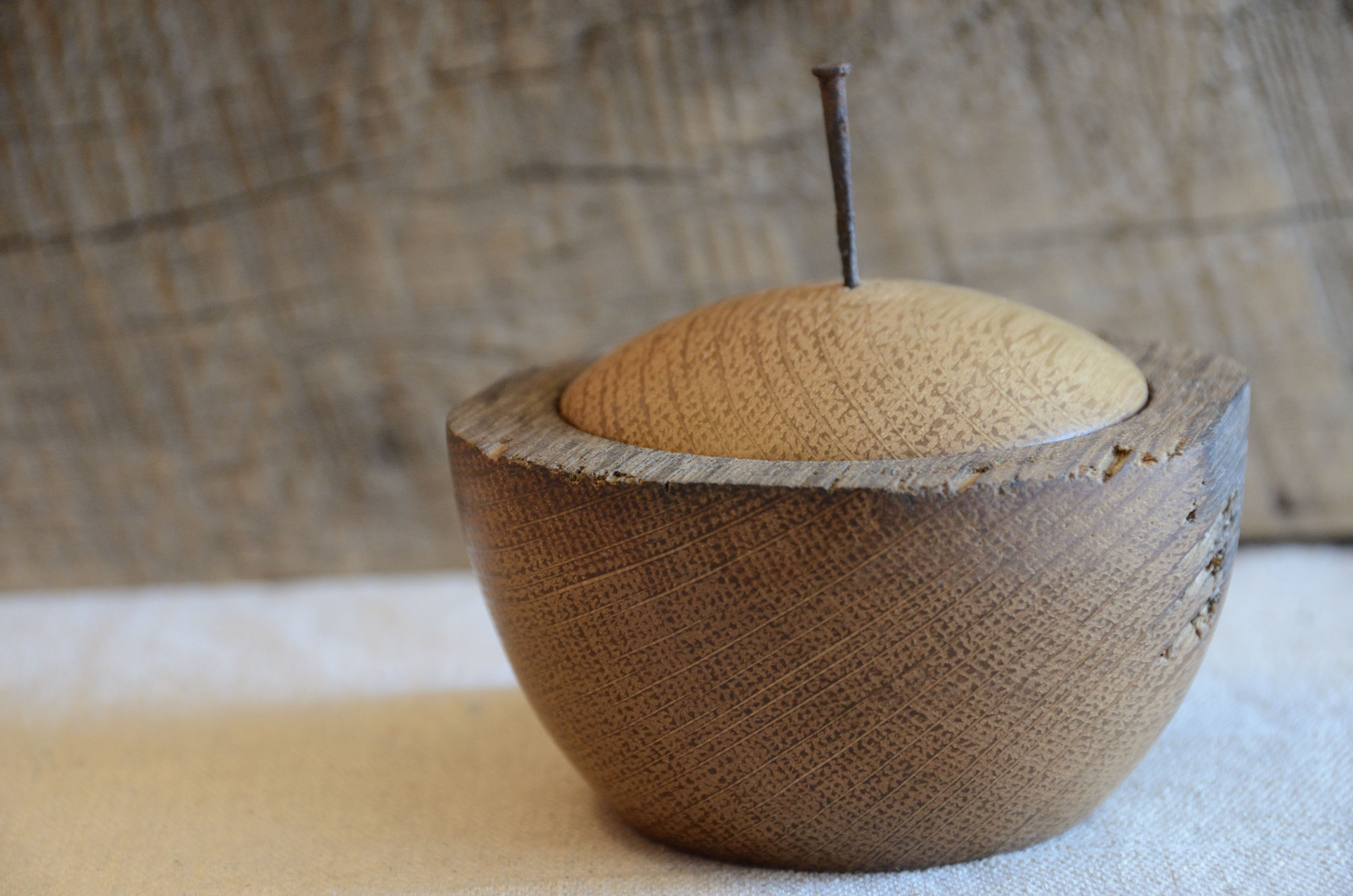 One-cup capacity lidded vessel handcrafted from weathered oak salvaged from a century-old barn near Frederick, MD.
