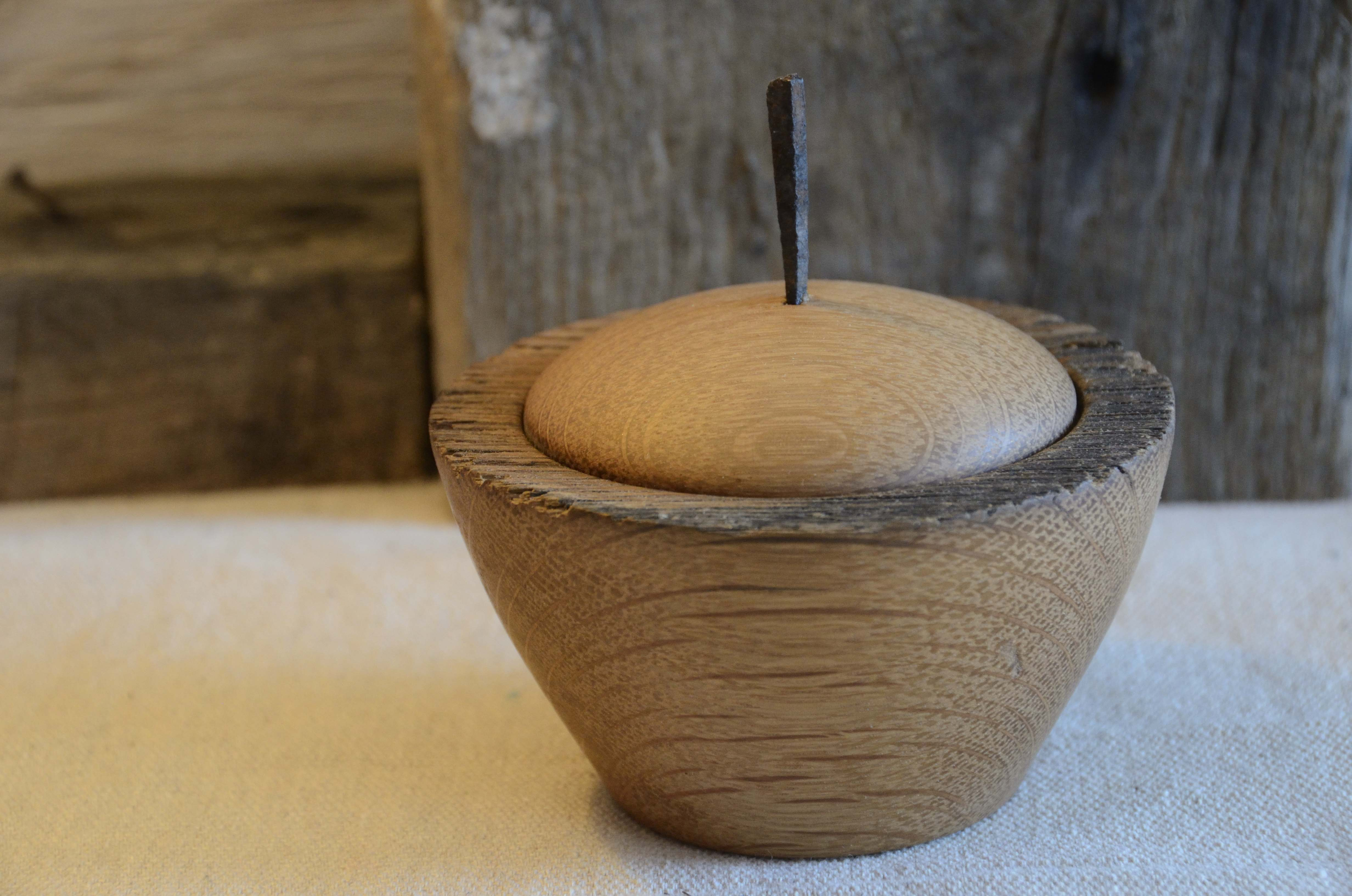Handcrafted old oak lidded vessel with antique nail finial.